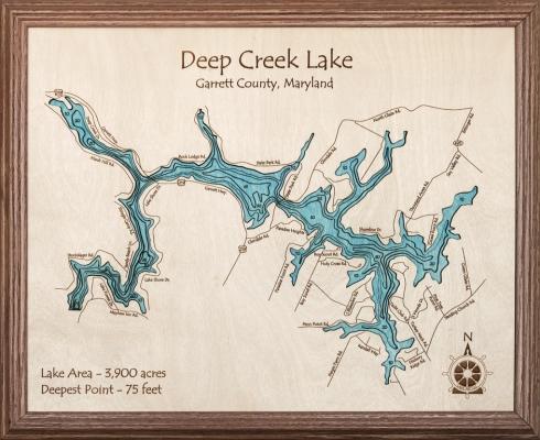 Deep Creek Lake Map Wooden Wall Art With Lake Map Wall Art (Image 7 of 20)