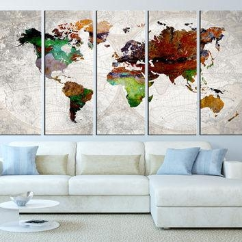 Definition Of Happiness Funny Wall Art From Bluebookdesign On In World Map Wall Art Framed (View 18 of 20)