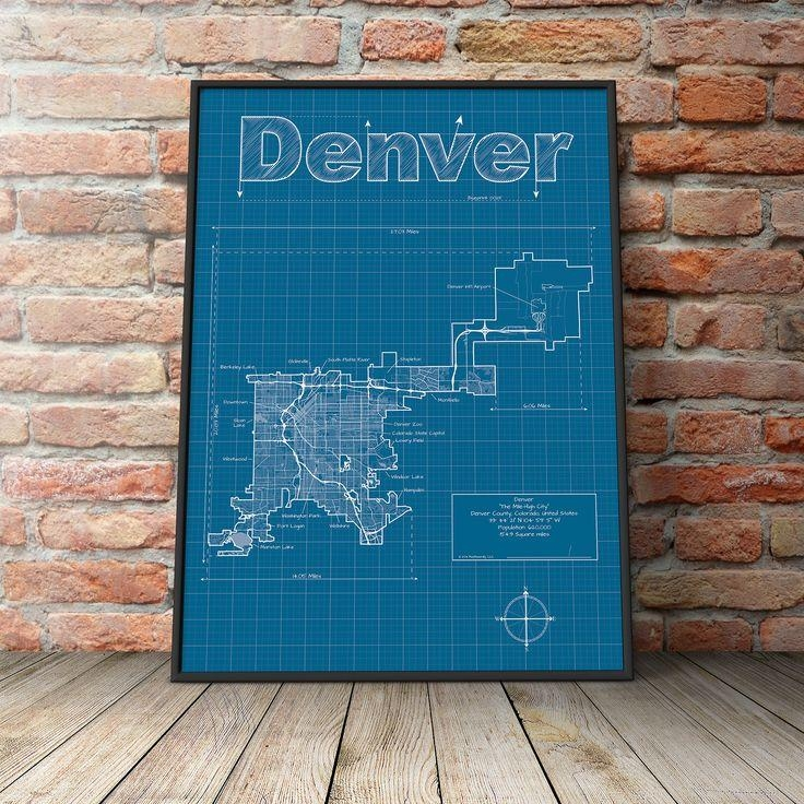 Denver Map / Original Artwork / Denver Map Art / Wall Art Throughout Portland Map Wall Art (Image 7 of 20)