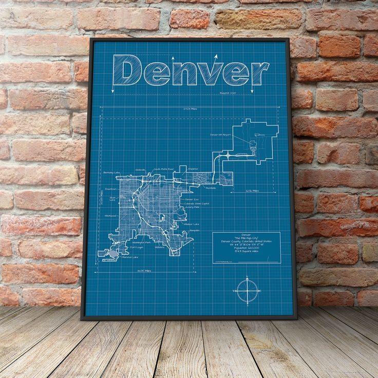 Denver Map / Original Artwork / Denver Map Art / Wall Art Throughout Portland Map Wall Art (View 10 of 20)
