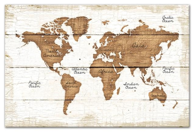 Distressed Wood World Map Canvas Wall Art, – Traditional – Prints Pertaining To Wood Map Wall Art (Image 3 of 20)