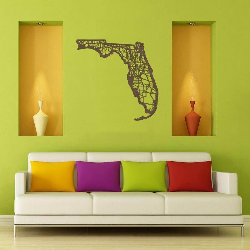 District17: Florida Map Wooden Wall Art: Wall Plaques Within Florida Map Wall Art (Image 7 of 20)