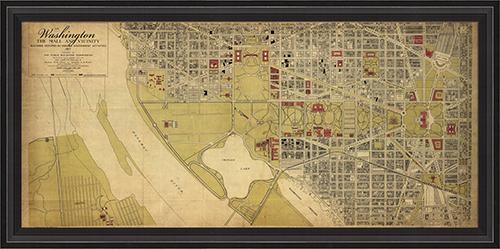 District17: Washington Dc Map 1917 Framed Wall Art: Framed Art Within Washington Dc Map Wall Art (Image 7 of 20)