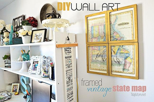 Diy Framed Vintage State Map Pertaining To Framed Map Wall Art (View 11 of 20)