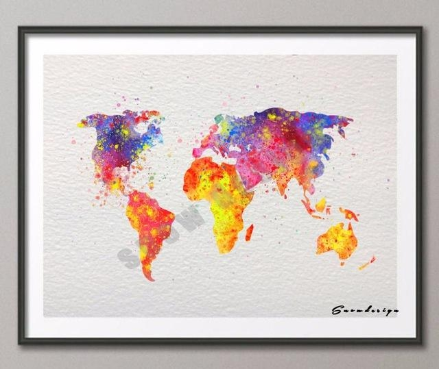 Diy Original Watercolor World Map Wall Art Canvas Painting Poster Throughout World Map Wall Art Canvas (Image 7 of 20)