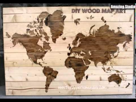 Diy Wooden World Map Wall Art – Youtube Inside Wood Map Wall Art (Image 4 of 20)