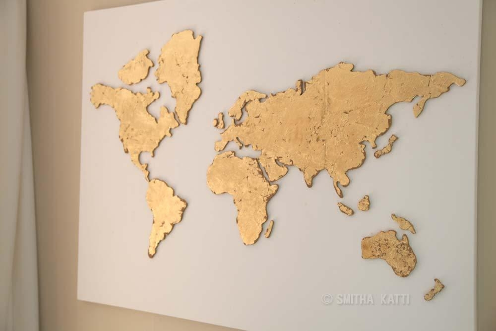 Diy World Map Wall Art That Is Easy To Make And Unique – Smiling Within Worldmap Wall Art (View 6 of 20)