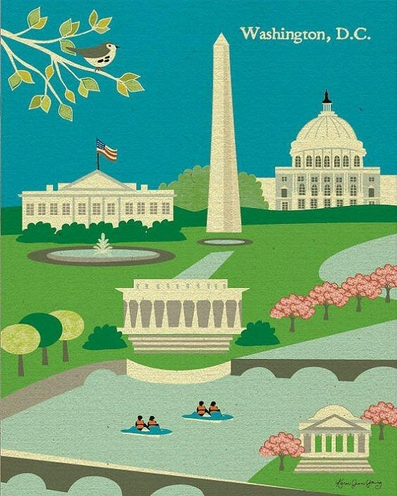 Elegant Washington Dc Poster And Magnificent Ideas Of Dc Skyline Regarding Washington Dc Map Wall Art (Image 8 of 20)