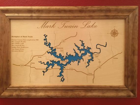 Engraved Lake Map Custom Wall Art Custom Map Cabin Sign Regarding Lake Map Wall Art (Image 8 of 20)