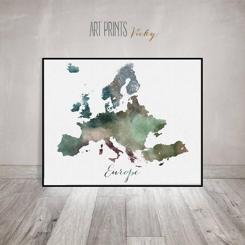 Europe Map, Europe Watercolor Map, Wall Art, Europe Map Poster For Europe Map Wall Art (View 6 of 20)