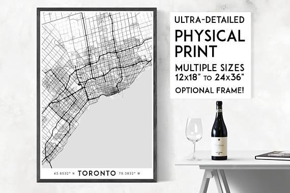 Every Road In Toronto Print Physical Toronto Map Print Intended For Map Wall Art Toronto (View 8 of 20)