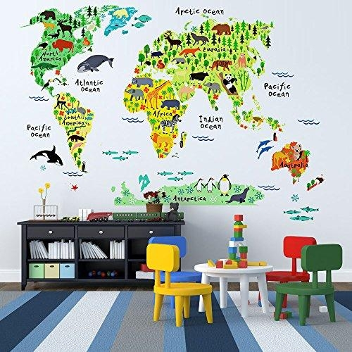 Eveshine Animal World Map Peel & Stick Nursery Wall Decals Inside World Map Wall Art For Kids (View 11 of 20)