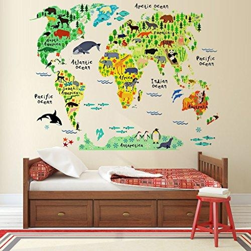 Eveshine Animal World Map Peel & Stick Nursery Wall Decals Within World Map Wall Art For Kids (View 13 of 20)