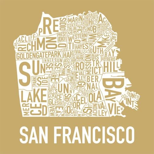 Exclusive New San Francisco Neighborhoods Print « Mission Mission With San Francisco Map Wall Art (View 5 of 20)