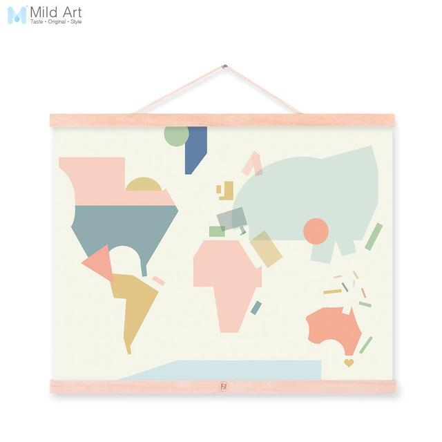 Fashion Colorful Abstract World Map Kawaii A4 Wooden Framed Canvas Inside Abstract World Map Wall Art (Image 6 of 20)