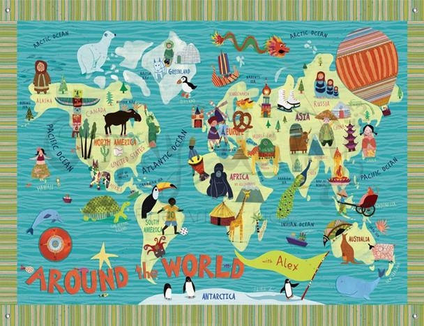 Five Beautiful World Maps For Kids' Rooms | Kiddley Pertaining To Kids World Map Wall Art (Image 7 of 20)