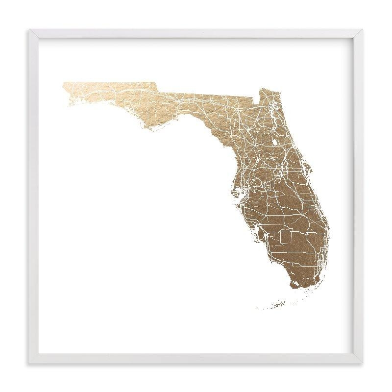 Florida Map Filled Foil Pressed Wall Artgeekink Design | Minted With Florida Map Wall Art (Image 8 of 20)