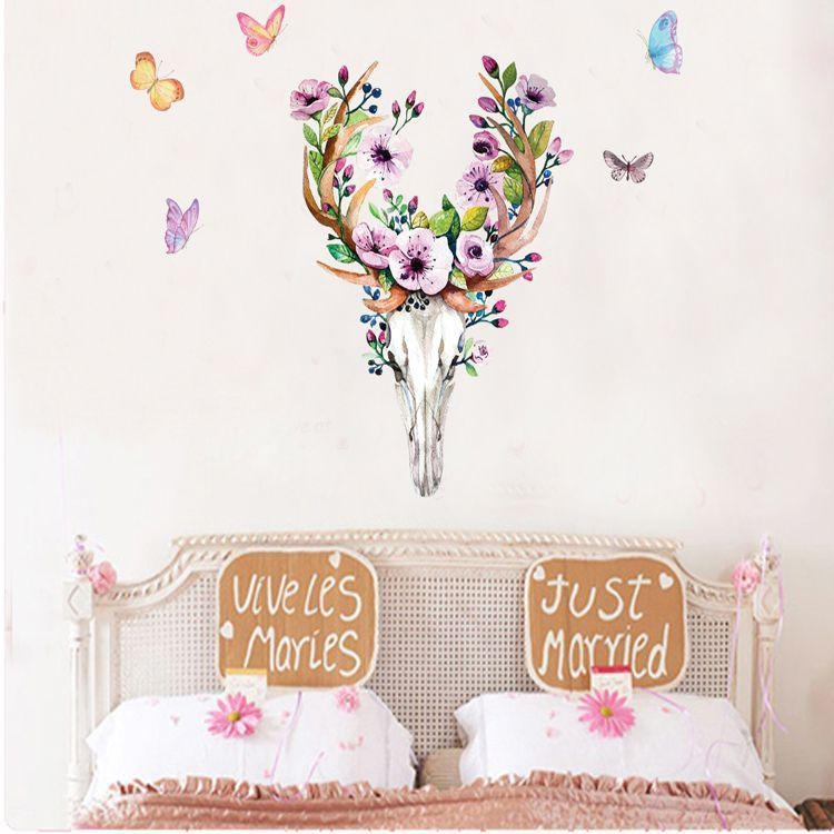 Flowers Elk Deer Wall Stickers Colorful Animals Head Wall Art With Regard To Butterfly Map Wall Art (Image 14 of 20)