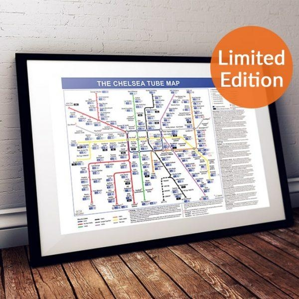 Football Canvas Wall Art, Great Gift For Chelsea Fc Fans Pertaining To Tube Map Wall Art (Image 10 of 20)