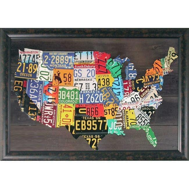 Foster, 'usa Map' Hand Embellished Framed Wall Art – Free Shipping Throughout Usa Map Wall Art (Image 1 of 20)