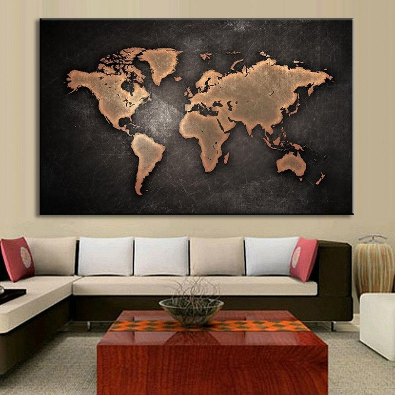 Framed Large Abstract Black World Map Painting Print On Canvas For Large Map Wall Art (Image 4 of 20)