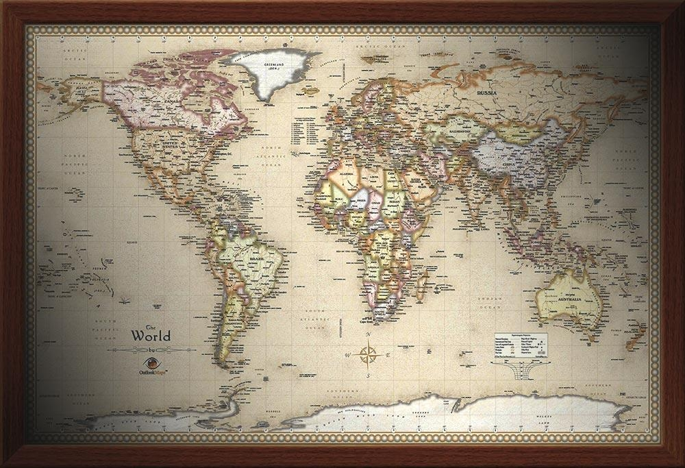 Framed Maps |Wood And Aluminum Frames For Wall Maps Pertaining To World Map Wall Art Framed (Image 5 of 20)