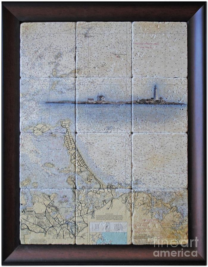 Framed Nautical Chart Of Hingham And Hull With Boston Light With Nautical Map Wall Art (Image 13 of 20)