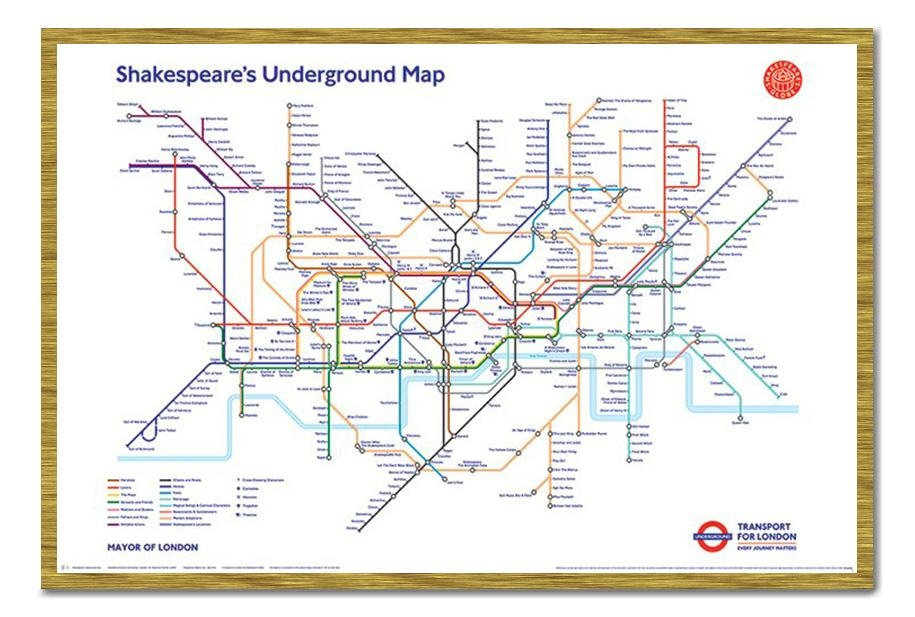 Framed Shakespeare's London Underground Map Poster New | Ebay With London Tube Map Wall Art (Image 9 of 20)