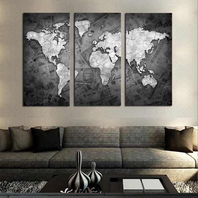 Frameless 3 Pcs Wall Art Classical Grey Color Modern World Map For World Map Wall Artwork (Image 10 of 20)
