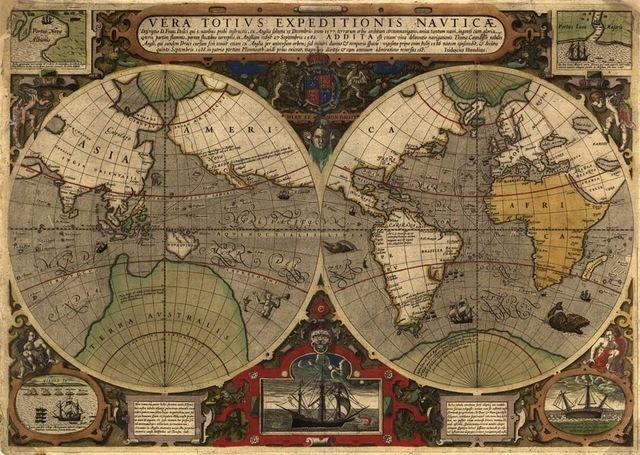 Frameless Vintage World Map Pictures Prints Oil Painting On Canvas Regarding Large Map Wall Art (Image 5 of 20)