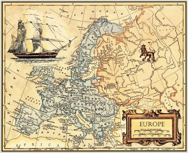 Free Ship Retro Oil Painting Canvas Europe Map Wall Art Picture With Europe Map Wall Art (View 18 of 20)