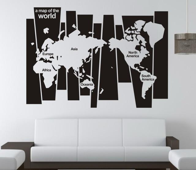 "Free Shipping ""world Map"" English Quote / Saying Vinyl Wall Art For World Map Wall Art Stickers (Image 5 of 20)"