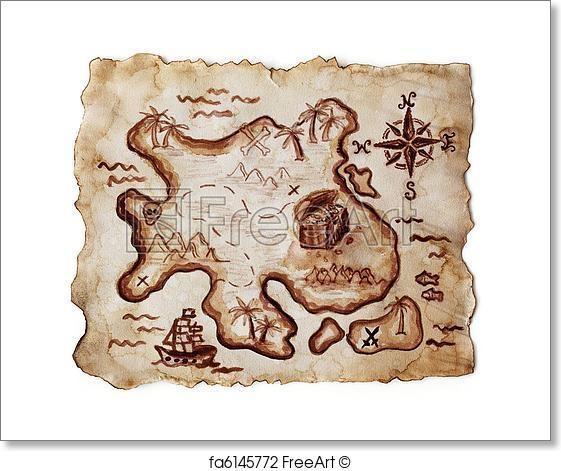 Free Treasure Island Map Art Prints And Wall Art | Freeart With Regard To Treasure Map Wall Art (Image 6 of 20)