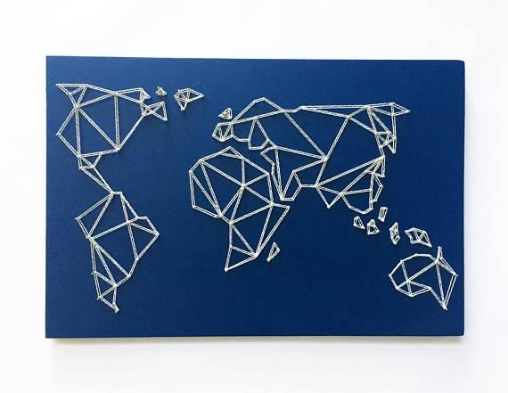 Geometric World Map String Art Map Wall Art Modern Throughout String Map Wall Art (View 4 of 20)