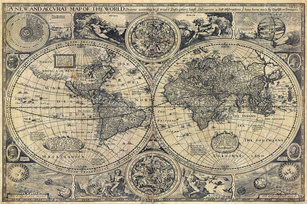 Giant Historic Old World Map 1626 Old Antique Restoration With Old Map Wall Art (Image 5 of 20)