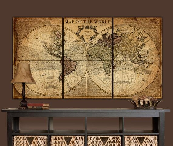 Globe Tan Map World Map Canvas Vintage Map Set Large Wall Intended For Vintage World Map Wall Art (View 12 of 20)
