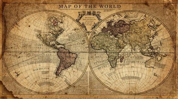 Globe Tan Map World Map Canvas Vintage Map Set Large Wall Regarding Vintage World Map Wall Art (View 20 of 20)