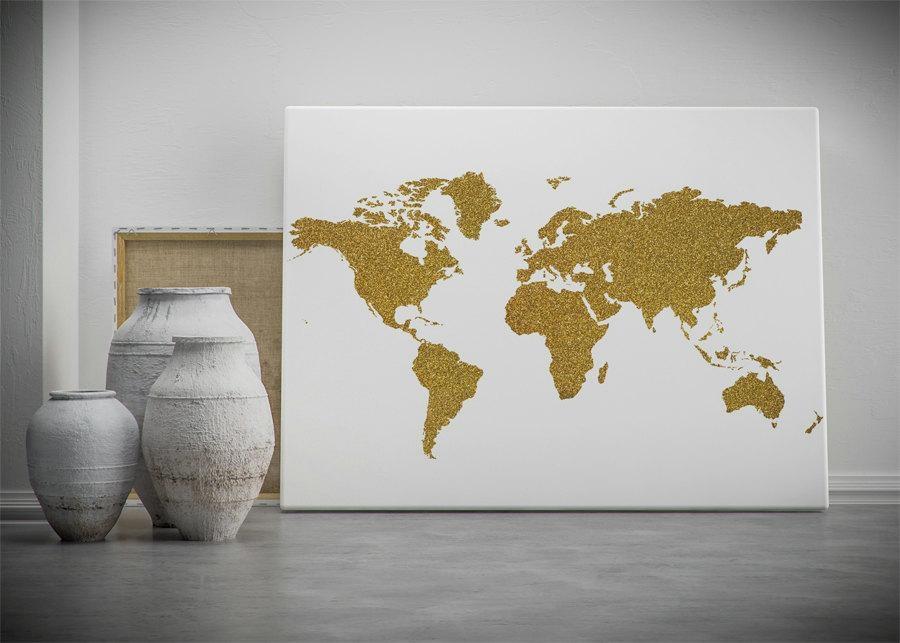 Gold World Map Printable Wall Art Gold Glitter World Map In World Map Wall Art Print (Image 6 of 20)