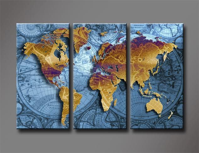 Golden World Map With Blue Sea, Large Hd Canvas Print Painting Within World Map Wall Artwork (Image 11 of 20)