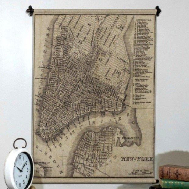 Hanging New York Map Wall Art | Antique Farmhouse Inside Nyc Map Wall Art (View 8 of 20)