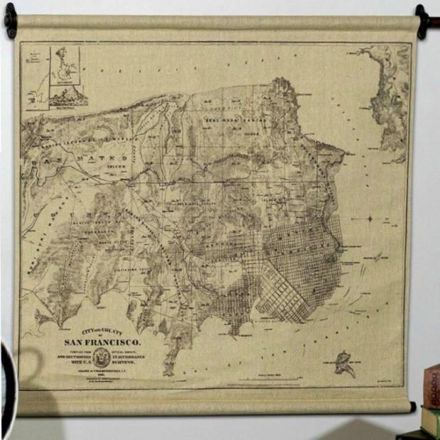 Hanging San Francisco Map Wall Art | Antique Farmhouse Inside San Francisco Map Wall Art (Image 5 of 20)