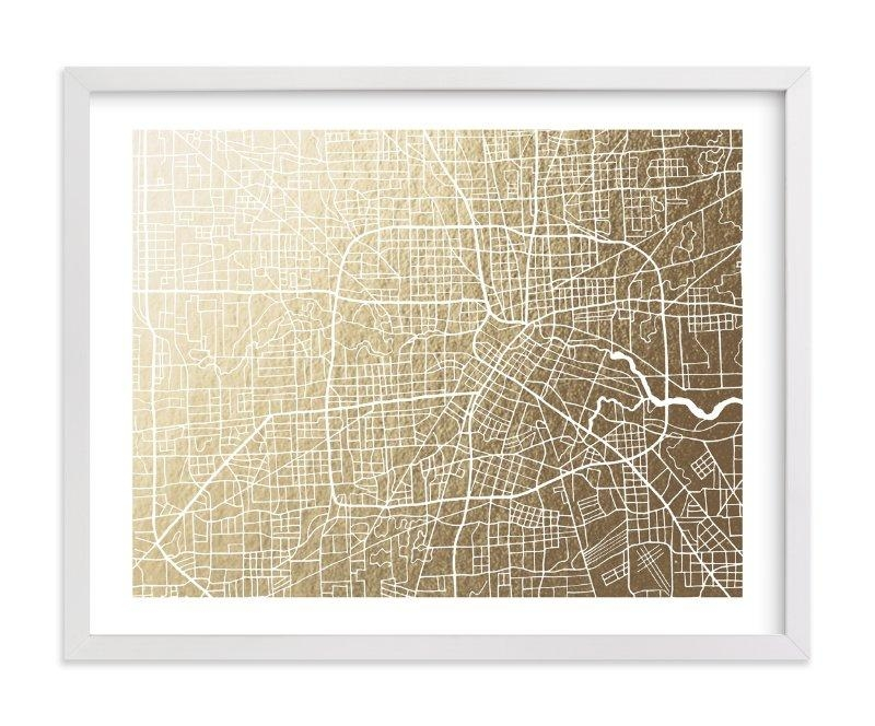 Houston Map Foil Pressed Wall Artgriffinbell Paper Co (View 1 of 20)