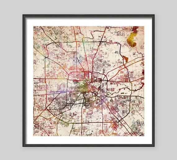 Houston Map Texas Watercolor Painting Old Paper Giclee For Houston Map Wall Art (View 5 of 20)