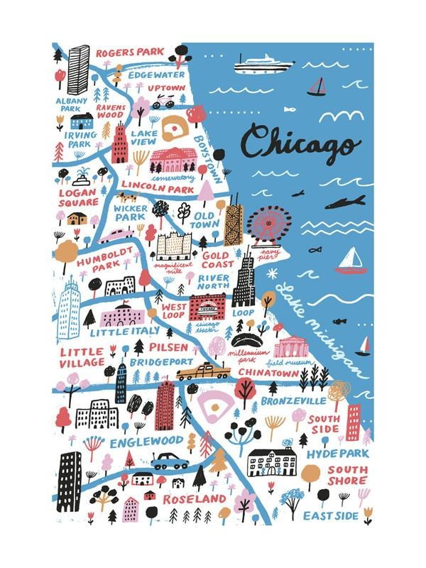 I Love Chicago Wall Art Printsjordan Sondler | Minted Inside Chicago Map Wall Art (Image 18 of 20)