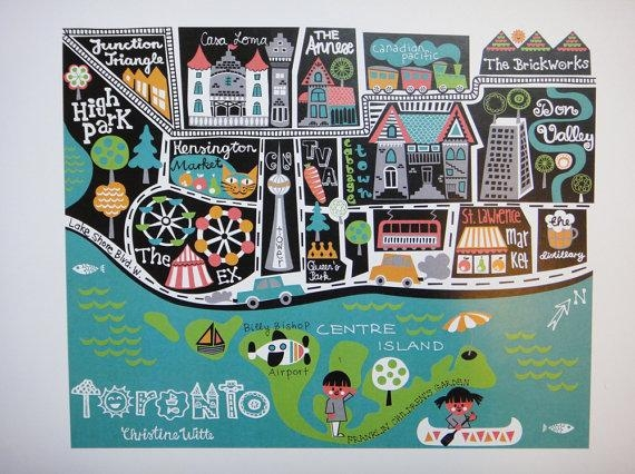 Items Similar To Toronto Canada Illustrated Map Wall Art Poster Within Toronto Map Wall Art (Image 6 of 20)