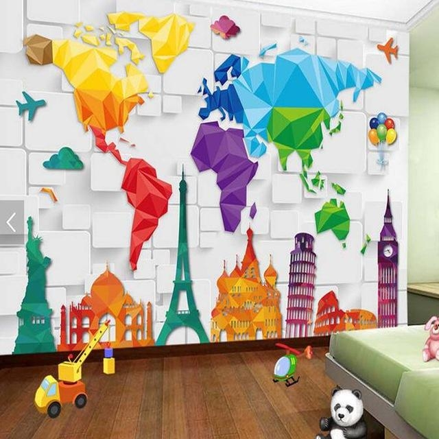 Kids Bedroom Wallpaper Colorful World Map Abstract Wallpapers Wall For World Map Wall Art For Kids (View 18 of 20)