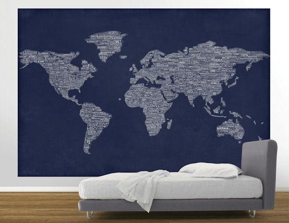 Kids Map Wall Art Canvas Map Artwork Amp Wall Map Decals With Pertaining To World Map Wall Artwork (Image 12 of 20)