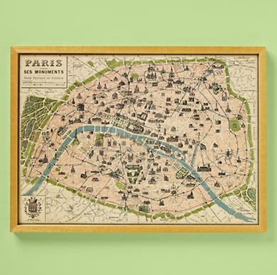 Kids' Posters, Prints & Art: Kids Paris Map Wall Art In All Wall Art – For Paris Map Wall Art (Image 8 of 20)