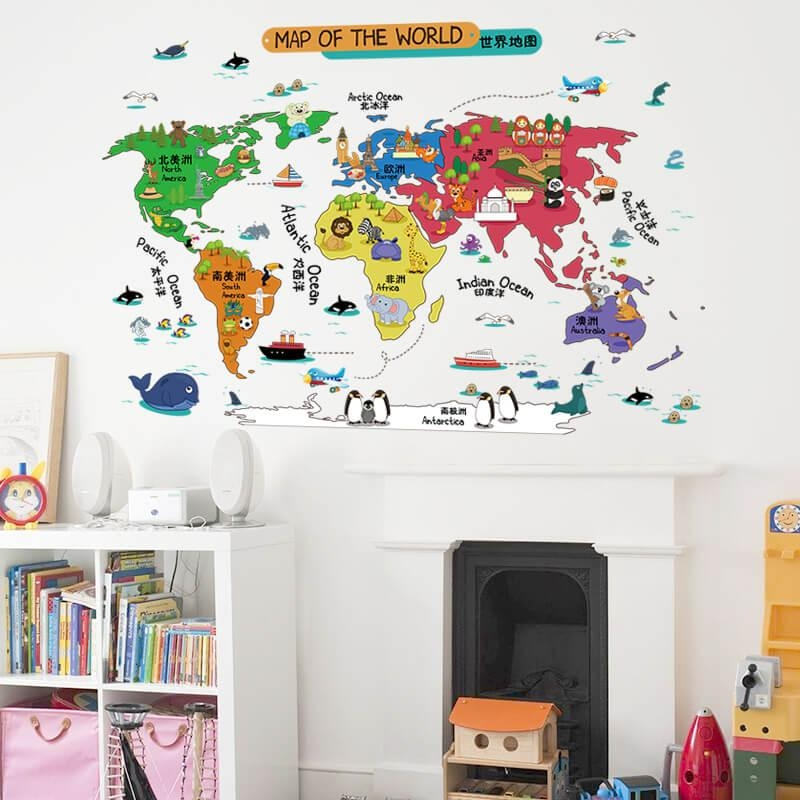 Kids World Map Wall Stickers | Boys Room | Nursery | Wall Decals Throughout Kids World Map Wall Art (Image 13 of 20)