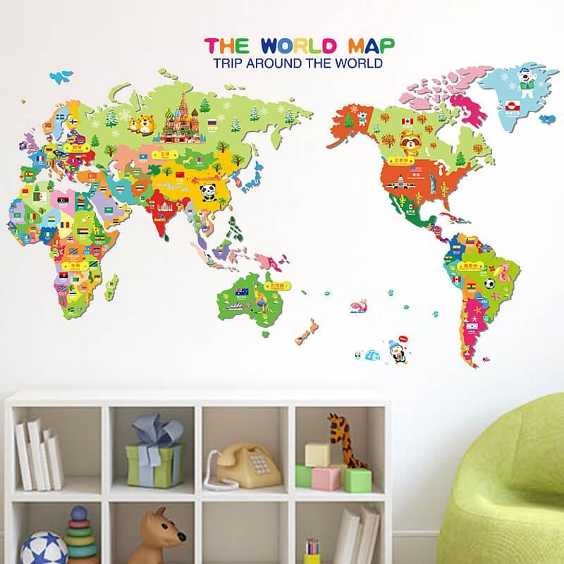 Kids World Map Wall Stickers | Home Decor | Boys Room | Wall Decals For World Map Wall Art Stickers (Image 6 of 20)